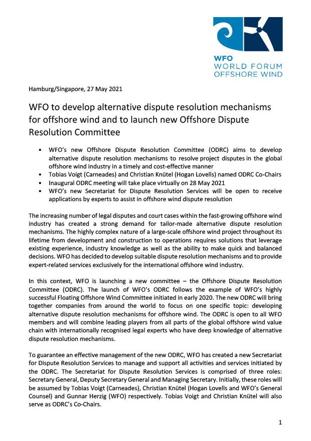 WFO – Press release 27/05/2021